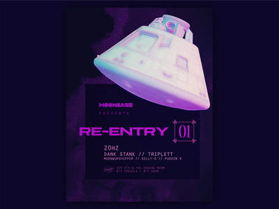 Re-Entry 01 abstract 3d gig poster moonbase purple rave poster