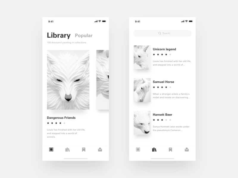 A Album of Painting app design design white clean app ui