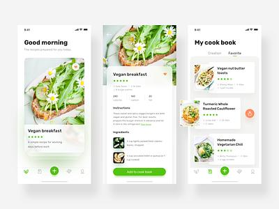 a vegetarian app design healthy green vegan food clean iphonex design app ui