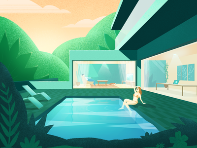 Swimming pool green illustration