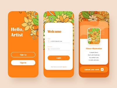 An artist's application flowers illustration design app ui orange