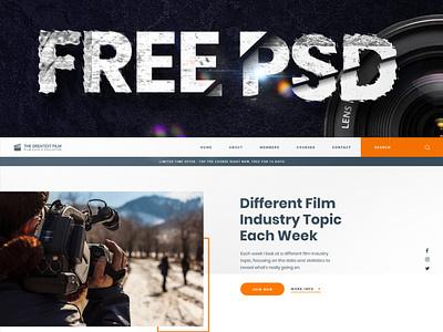 The Greatest Film PSD Freebie landing page psd blue orange free file free freebie photography film