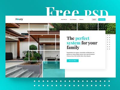 Houzy PSD Freebie ux ui psd real estate house blue freebie free file free