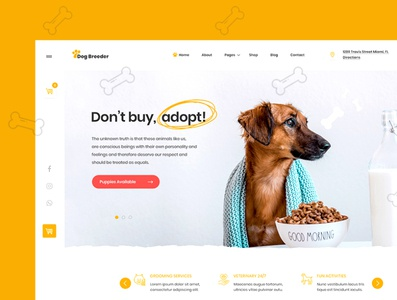 Dog Breeder & Adoption Template Kit cute animal photoshop website creative elementor ux ui yellow puppy kennel breeder dog