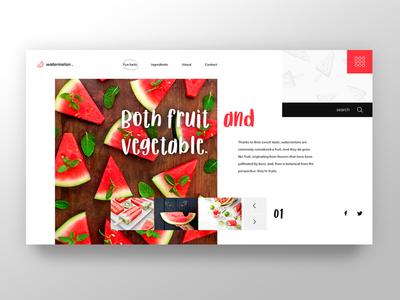 Watermelon ecommerce shop portfolio green red bio fresh vegetable fruit watermelon