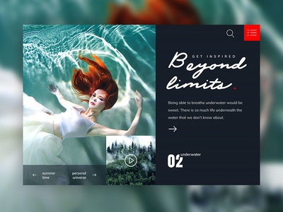 Beyond Limits underwater water blue red designer web design ux ui limits beyond