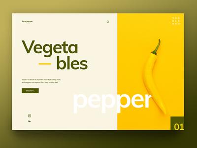 Pepper green clean creative slider landing page inspiration food bio vegetables pepper yellow design ux ui