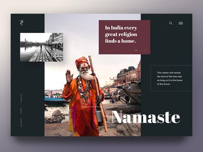 Namaste website branding interface creative blue red design ux ui indian india namaste