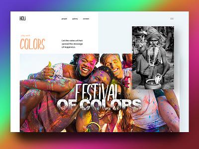 Holi festival gradient webdesign branding interface design ui ux fun colors india celebration holi