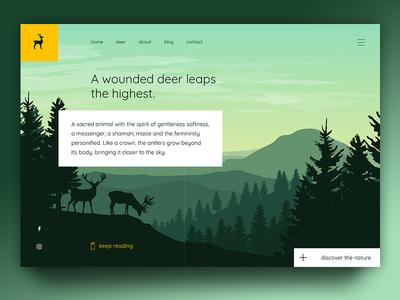 Deer uiux design web page illustration branding ux ui yellow green wild forest nature deer