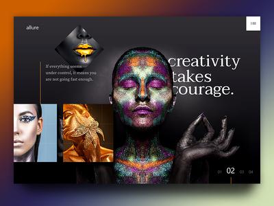 Creativeness fashion women web page landing page website web branding gold creativity dark uiux ux ui creative