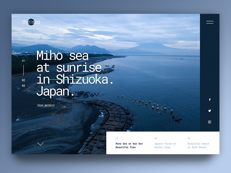Miho Sea creative green branding landing page website design uiux ux ui water bleumarin marine blue ocean sea