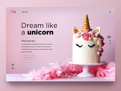 Unicorn landing page webdesign design uiux ux ui slider cake color colorful fun pink glitter unicorn