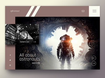 Astronaut dark beige creative branding interface webdesigner design uiux ux ui rocket sky nasa astronaut space moon