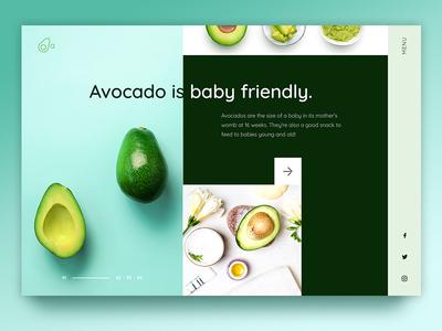 Avocado web page fresh website design creative landing page interface uiux ux ui fruits vegetables avocado green