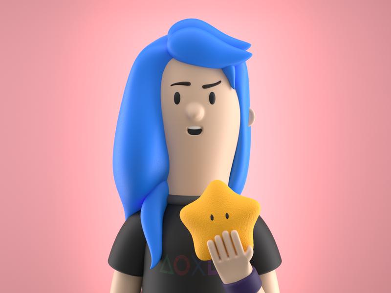 Gamer girl 3d c4d exploration girl gamer