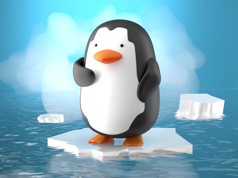 Antarctica penguin exploration character 3d corona c4d exploration penguin antarctica