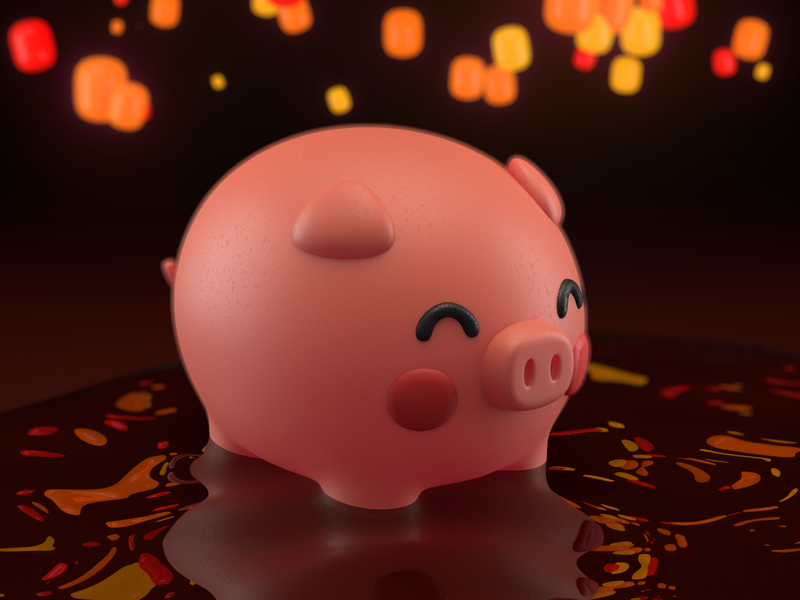 Chinese pork year exploration character corona 3d c4d exploration year pork chinese