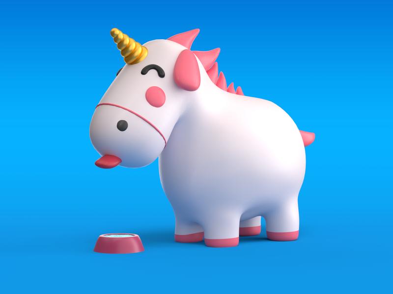 Thirsty unicorn rainbow pet illustration render 3d corona c4d unicorn thirsty