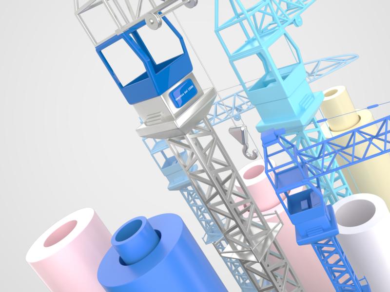 Construction cranes work steel grey graphicdesign exploration cranes corona color c4d blue 3d