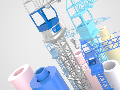 Construction cranes work steel grey graphicdesign exploration cranes corona color c4d blue 3d