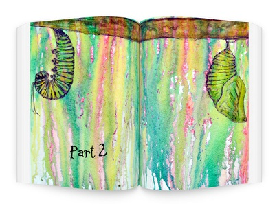 Part 2 Page Spread Illustration double page spread caterpillar graphic design typography layout book illustration
