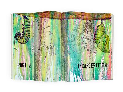 Incarceration graphic design book illustration double page spread