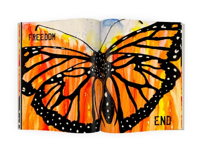Freedom - Double Page Spread double page spread butterfly graphic design typography layout book illustration