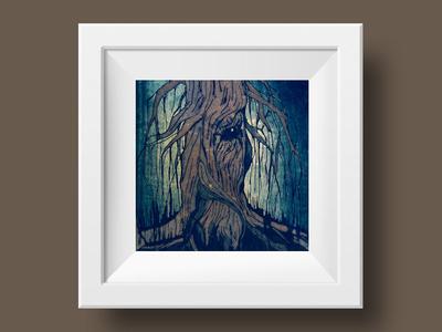 Tree Folk trees nature woodland mixed media illustration dark forest dark wood magic tree tree people tree folk
