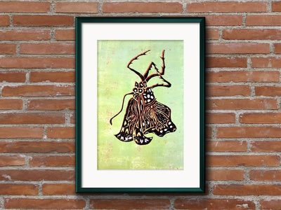 Released life cycle monarch butterfly metamorphosis nature caterpillar illustration lino print