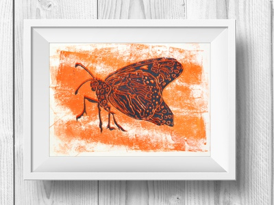 Stuttering To Life life cycle monarch butterfly metamorphosis nature caterpillar illustration lino print