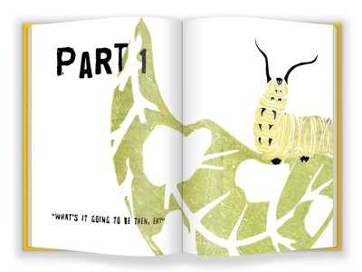 Partonebookmockup story illustration book layout graphic design life cycle monarch butterfly metamorphosis nature caterpillar illustration lino print