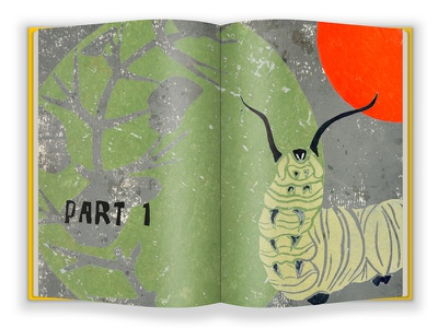 Part1 - FINAL VERSION story illustration book layout graphic design life cycle monarch butterfly metamorphosis nature caterpillar illustration lino print