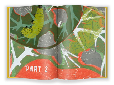 Part 2 - FINAL VERSION story illustration book layout graphic design life cycle monarch butterfly metamorphosis nature caterpillar illustration lino print