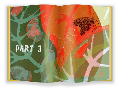 Part 3 - FINAL VERSION story illustration book layout graphic design life cycle monarch butterfly metamorphosis nature caterpillar illustration lino print