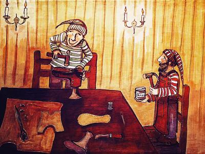 Shoemaking Elves pen and ink elves fairy tales kid lit art illustration