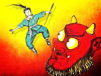 Inch High Samurai pen and ink kid lit art demon fairy tales illustration japanese folklore ogre oni ninja samurai