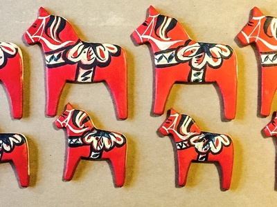 Hand Made, Hand Painted Dala Horse Hanging Decorations