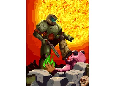 DOOM space marine shotgun fps games hell fire flame demon pixelart pixel art illustration