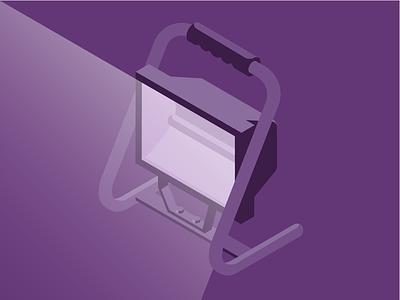 Spotlight isometric purple illustration icon construction light lamp spotlight