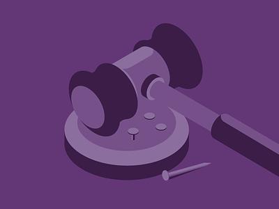 Laws & regulations isometric purple illustration construction law gavel