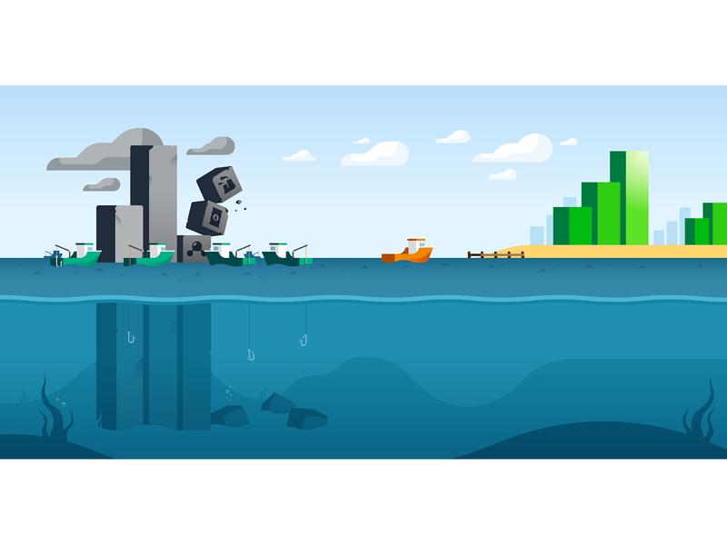 Illustration for Faraday Keys sea boat fosile energy renewable energy illustration