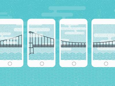 Blog Illustration 2/10 hr cloud bridge illustration flat texture iphone 6 millenials