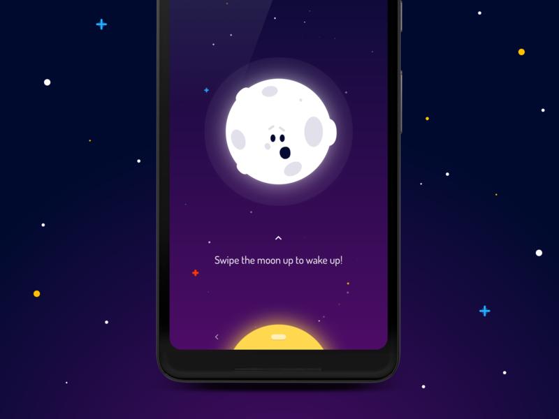 Wakey Alarm Clock - Dismiss Alarm animation tutorial wake up dismiss ui design vector gentle cute wakey alarm clock android app