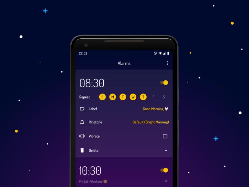 Wakey Alarm Clock - Main Alarms Screen alarms minimalistic material design alarm clock android wakey simple flat main screen ui