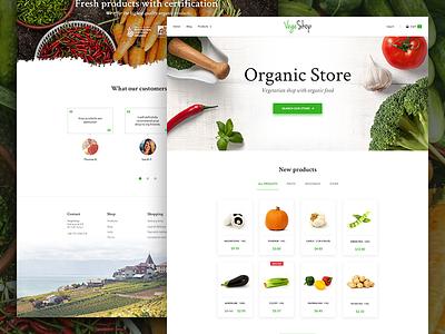 Vegetarian Shop - UI/UX Design typography website e-commerce ux ui design home page fruits vegetables shop organic store food