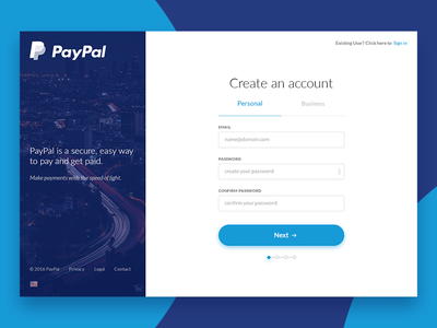 PayPal, Sign up Redesign - Daily UI #001 ux design ui design paypal login uidaily password username form sign up redesign dailyui