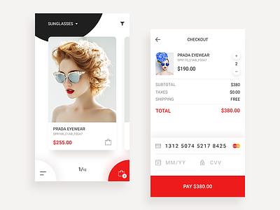 Prada Mobile Shop Concept, Credit Card Checkout - Daily UI #002 fashion payment design credit card checkout app mobile ecommerce sunglasses shop prada