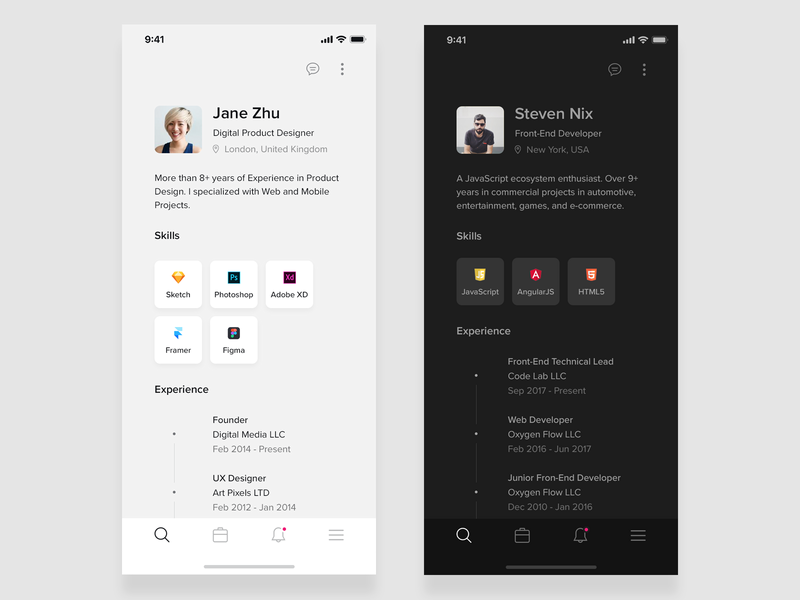 Resume Mobile App for iOS (Black & White) ux design ui deisgn attachment white black black and white ios 12 app concept developer designer experience skills profile iphone xs iphone x cv resume ios app mobile