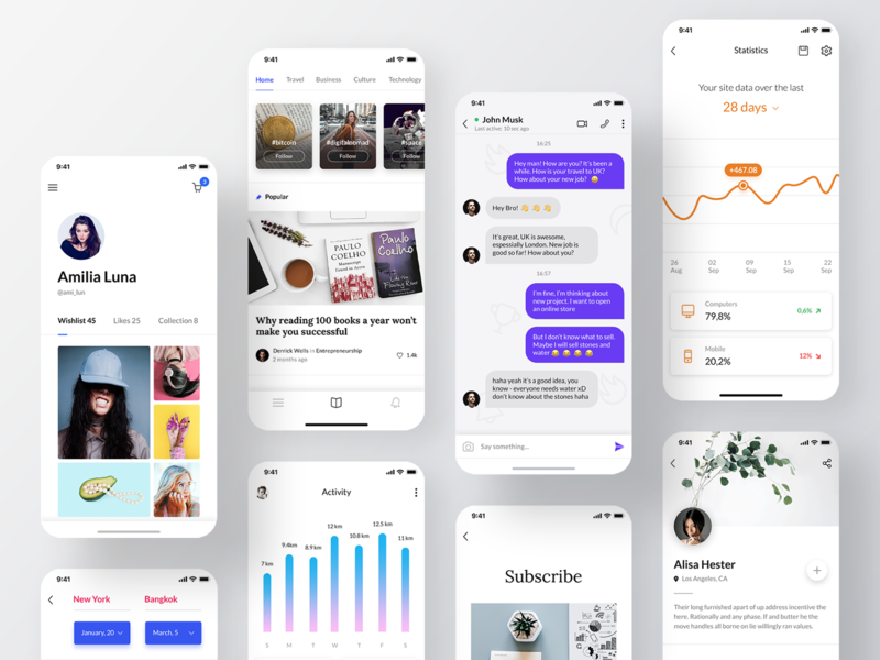 Awesome iOS UI Kit II ui kit ios mobile sketch figma ecommerce blogger profile stats travel sign up adobe xd ui8 reader chat chart flight app templates social app
